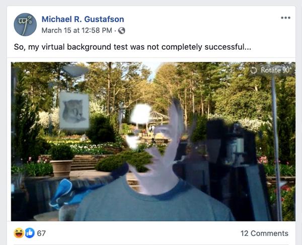Dr. G. Zoom test Facebook post